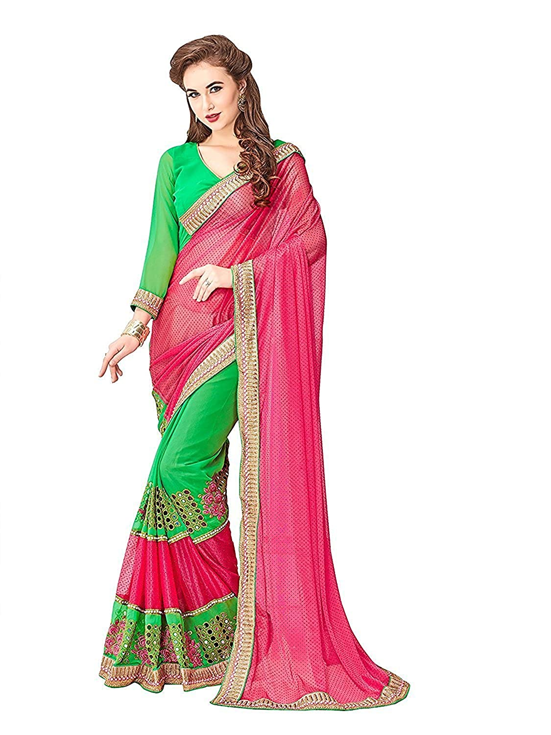 ab467556764808 Ambika Sarees Collection Women s Pink Embroidered Half And Half Georgette  Saree With Blouse Material  Amazon.in  Clothing   Accessories