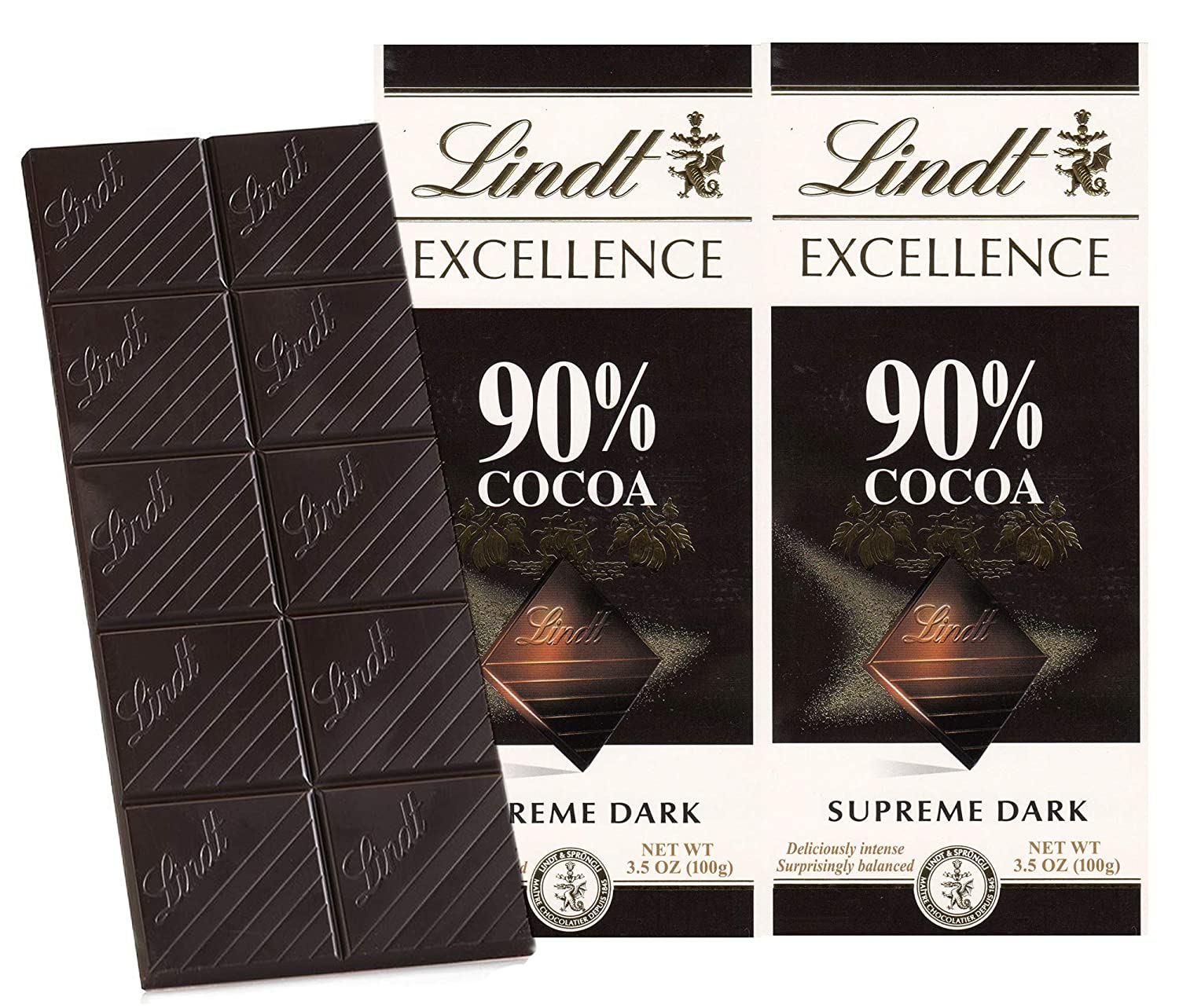 Lindt Excellence 90% Cocoa Dark Supreme Noir Chocolate Bar, 2 X 100 g