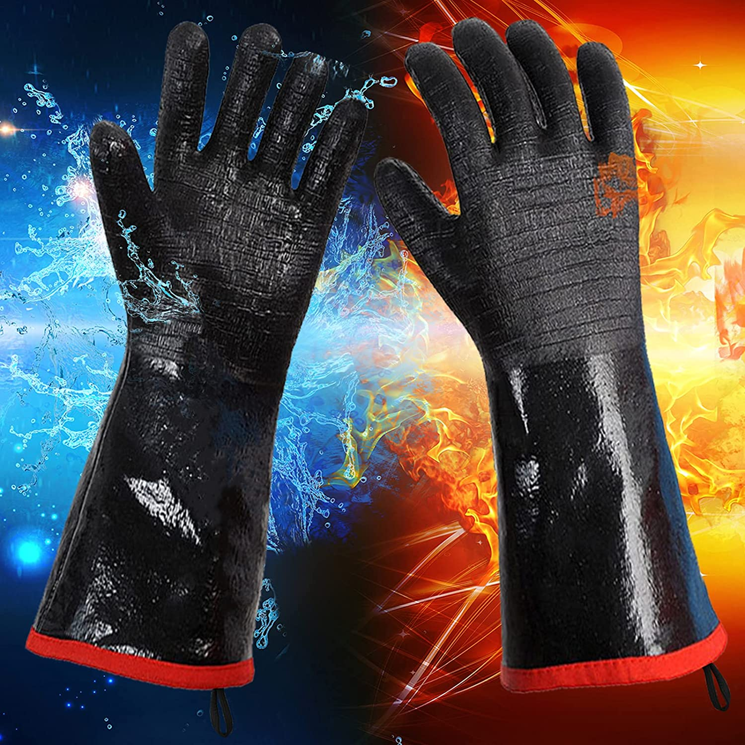 Insulated Heat/Cold Resistant BBQ/Grill Gloves Oven Mitts for Smoker, Fry Turkey, Smoking Meat, Hot Food, Pot Holder, Water& Oil Proof Flame Retardant with Neoprene Coating (18