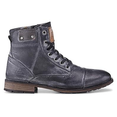 Cox Herren Schnür Boots aus Leder, Winter Stiefel in Grau mit robuster Sohle