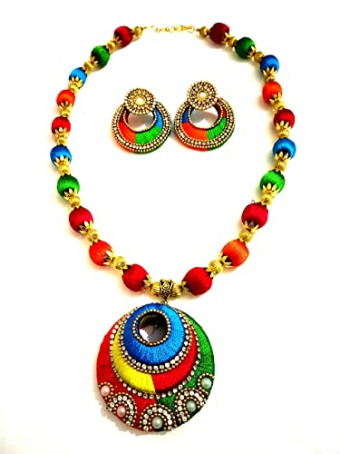 acd742a4bfb33 Amazon.com: GOELX Multicolor Pendant Silk Thread Necklace Set with ...