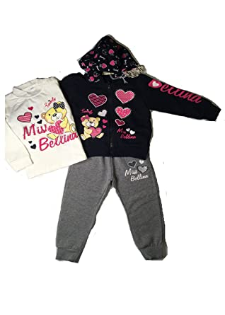uk availability 24eec 1fc1f Adorable Girl Toddler 3 Piece Sweatsuit. Comfortable Sporty Design. Italian  Imported! (36M