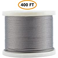 1//16 Wire Rope Kit for Railings,IETFULL Stainless Steel 304 Wire Cable with 100pcs Aluminum Crimping Sleeves,7x7 Strand Core,328FT Length Cable,368 lbs Breaking Strength Backyard