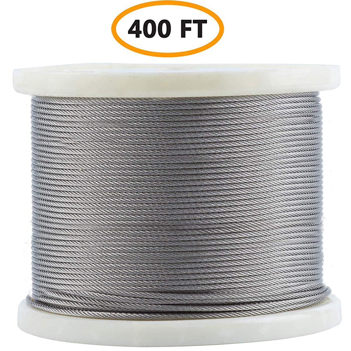 Bysn 316 1/8'' Stainless Steel Cable Aircraft Wire Rope for Cable Railing Kit,7x7 400Feet by Bysn