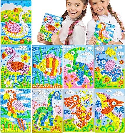 Konsait Mosaic Sticker Art Sticky DIY Picture Mosaic Handmade Toys Art Craft for Kids Fun Activities 9 Pack Space Satellite Rocket Outer Alien Sunflower Parrot Ostrich Squirrel