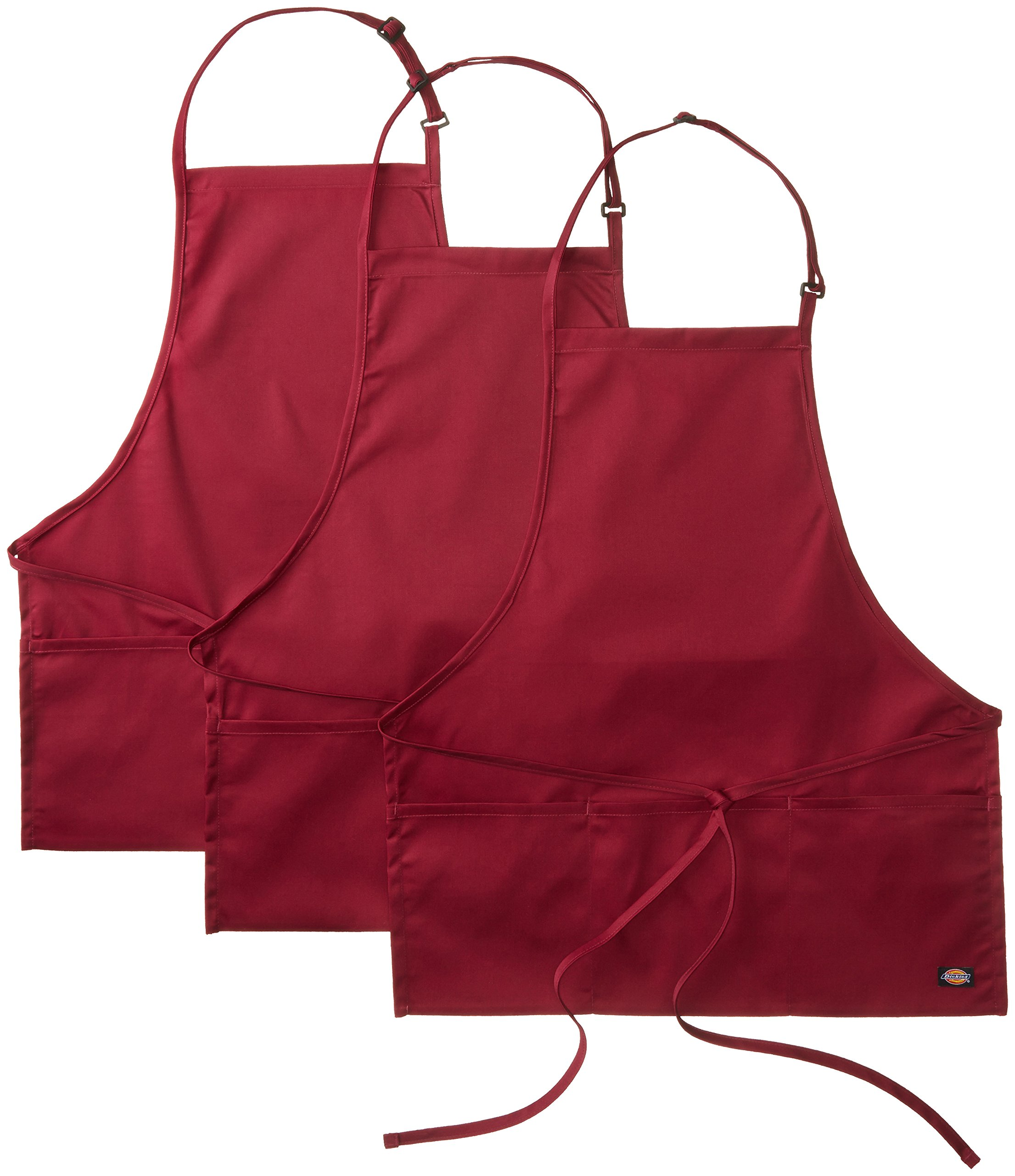 Dickies Chef 3 Pack Three Pocket Adjustable Bib Apron, Burgundy, One Size