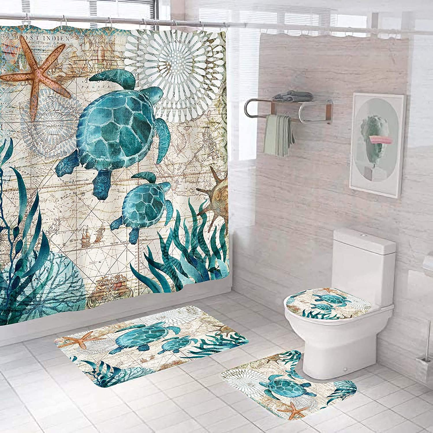 4 Piece Sea Turtles Shower Curtain Sets with Non-Slip Rug,Toilet Lid Cover,Bath Mat,12 Hooks,Nautical Green Sea Beach Decor Waterproof Shower Curtains for Bathroom Accessory Rug Sets 70.8''Long