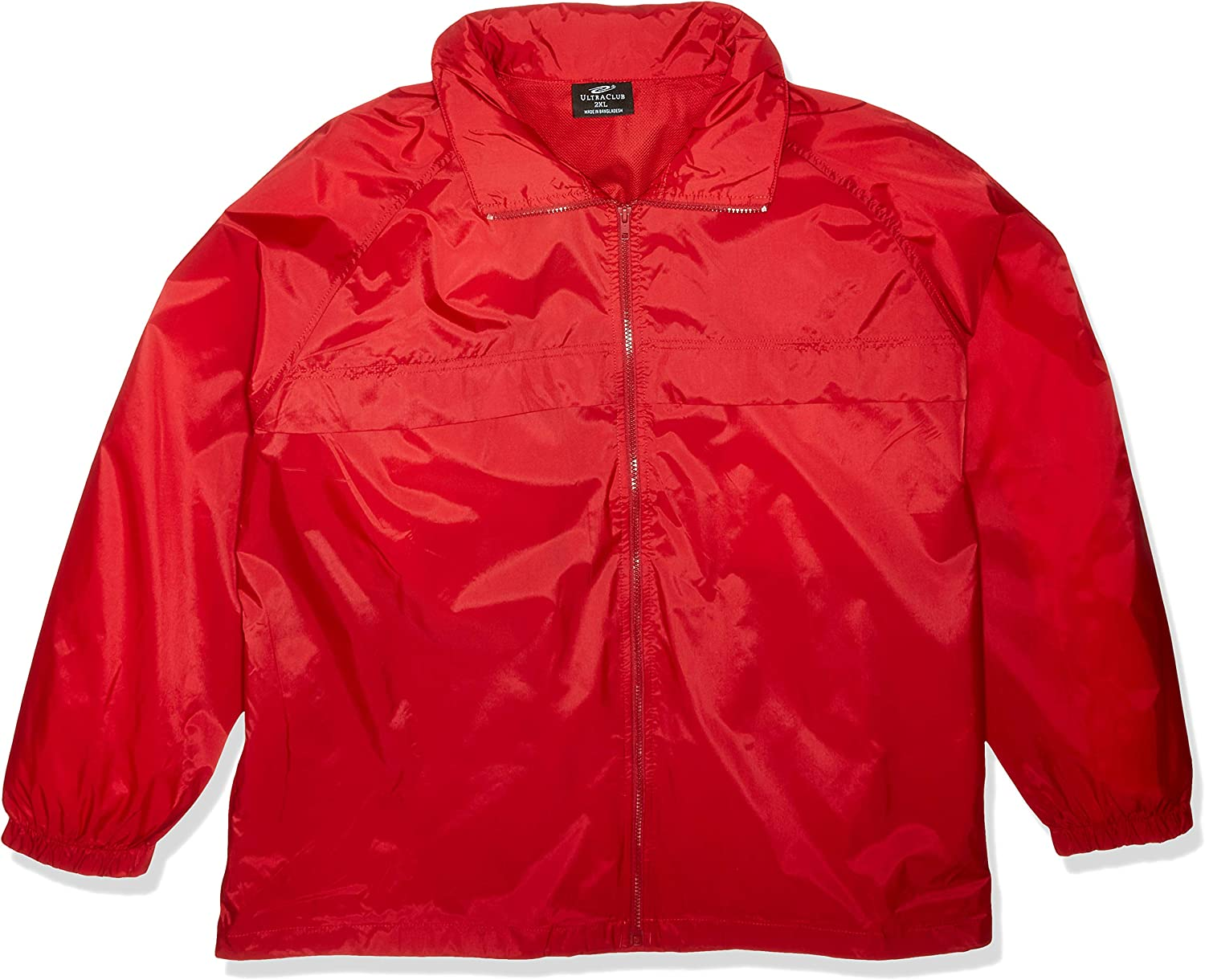 Red Small RETOV Mens Hooded Zip-Front Pack-Away Jacket