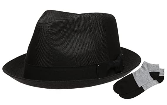 Men s Summer Lightweight Linen Fedora Hat with Casual Low Cut Sock  (F0960-BLACK 6f570fcdc9d