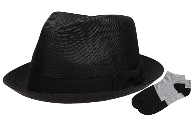 9a1ddd33505 Men s Summer Lightweight Linen Fedora Hat with Casual Low Cut Sock  (F0960-BLACK