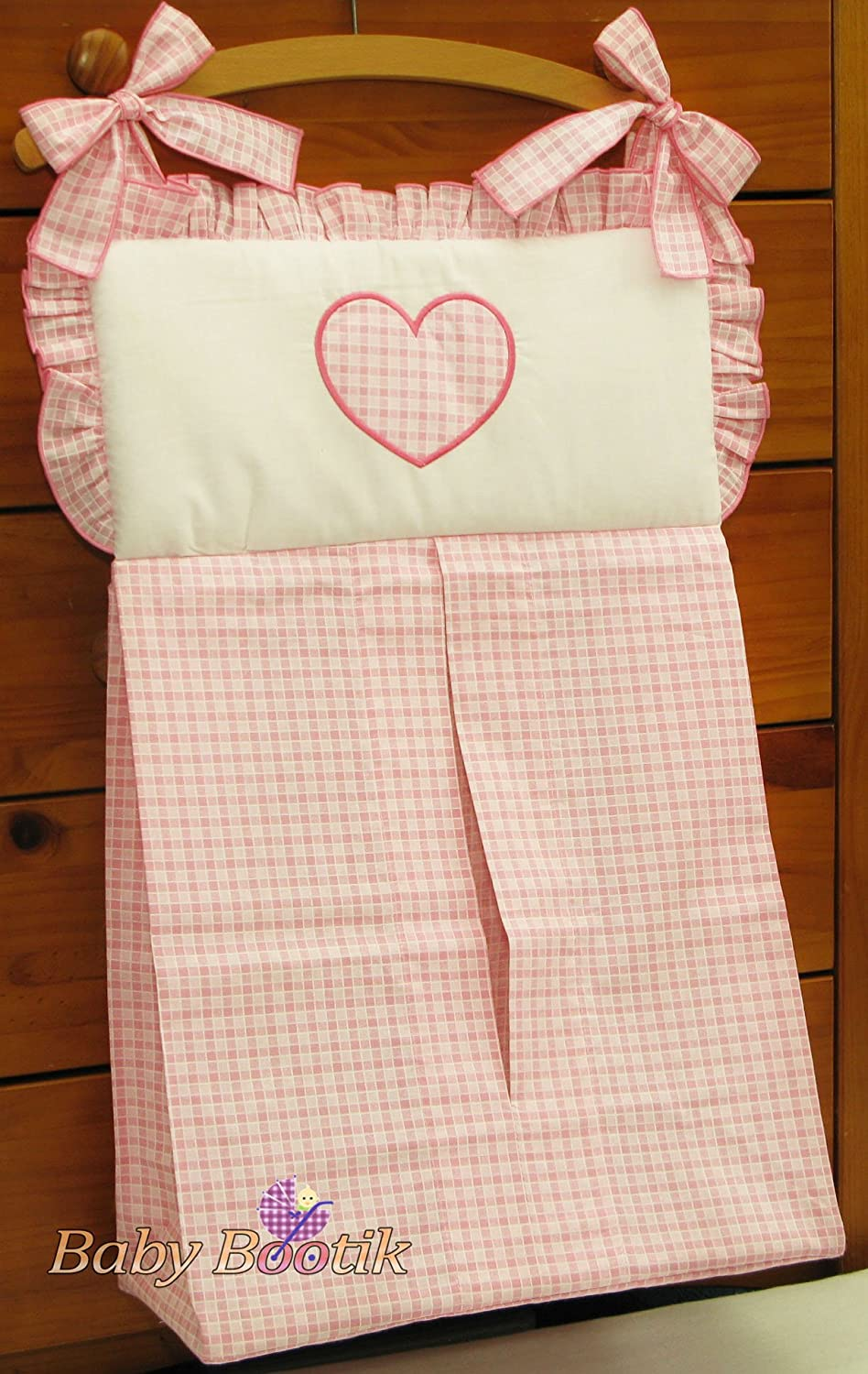 NAPPY STACKER/DIAPER BAG MATCH BABY NURSERY COT/COT BED BEDDING - HEARTS PINK Babycomfort