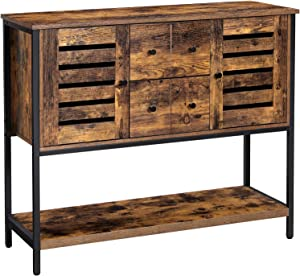 VASAGLE Lowell Storage Cabinet, Floor Cabinet and Sideboard with 2 Drawers, 2 Cupboards, and Shelf, for Living Room, Kitchen, Dining Room, Industrial, Rustic Brown and Black ULSC082B01