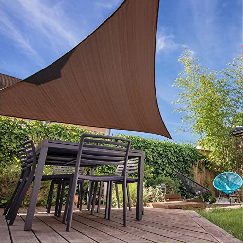 E K Sunrise 10 x 10 x 14 Right Triangle Sun Shade Sail, Shade Fabric Cover Backyard Deck Sail Canopy UV Block – Coffee Brown