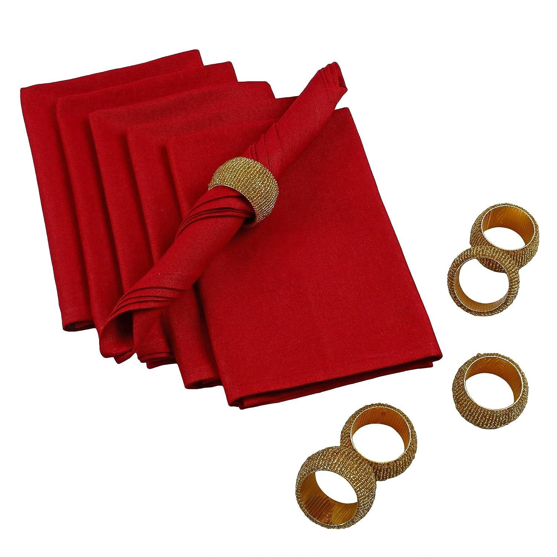 クリスマスパーティーテーブル装飾 – プレミアムコットンナプキンとガラスビーズリング – セットof 6 20x20 Inches ゴールド MPN-combo_gifts_1  Maroon-Gold B017CWRTJI