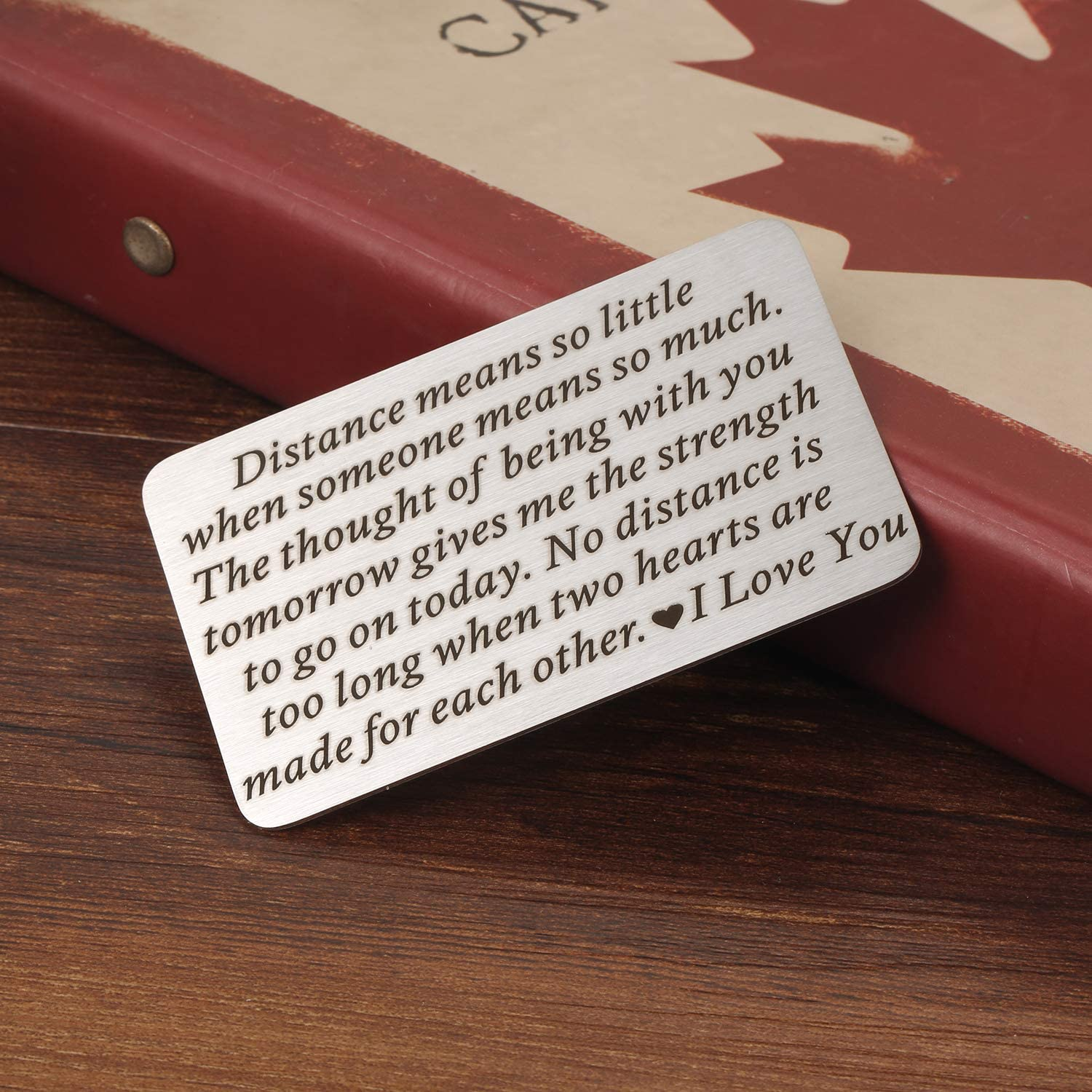 No Distance Is Too Long When Two Hearts are Made for Each Other Deployment Gifts for Him Her Long Distance Relationships Gifts for Boyfriend Husband Mini Love Note Wallet Card Insert