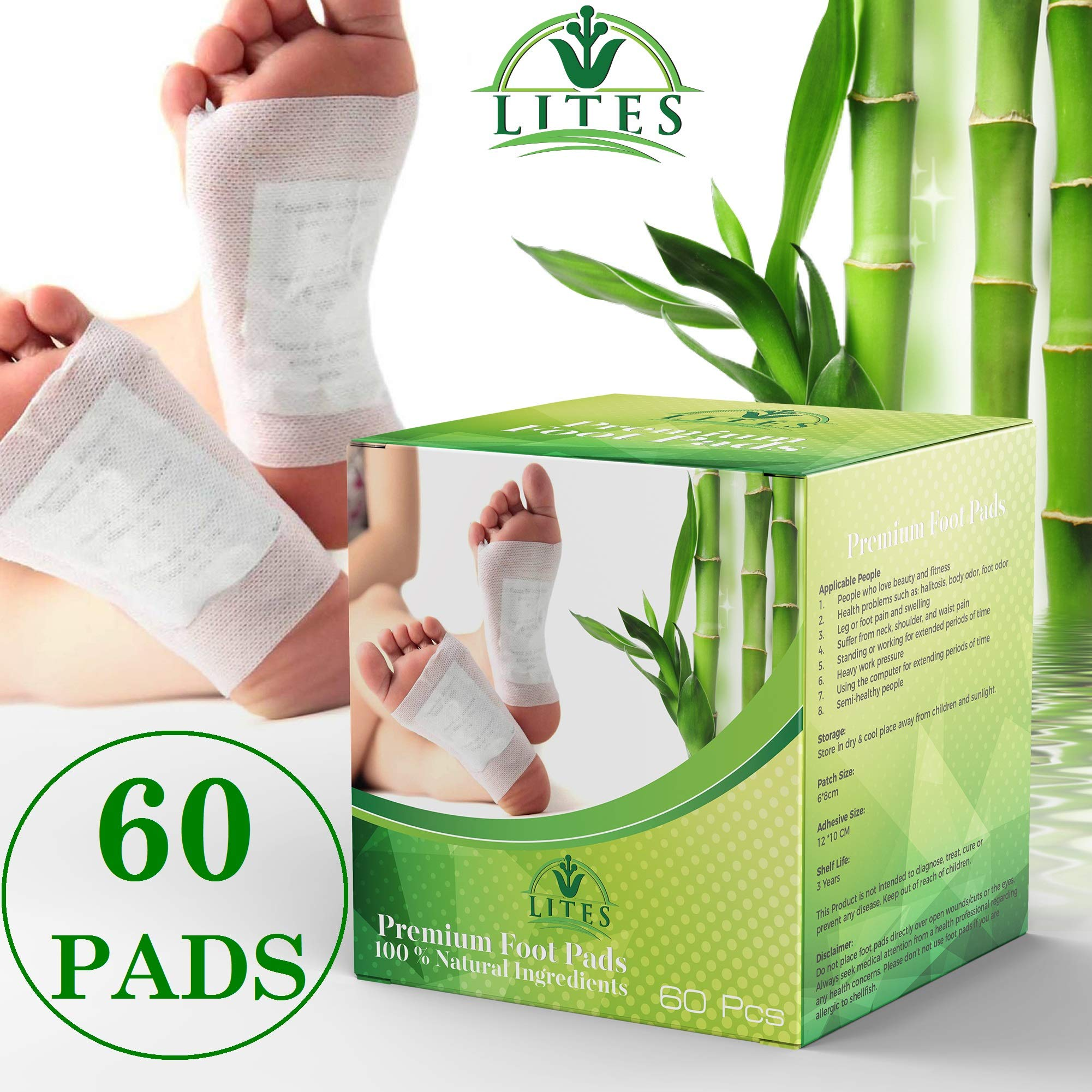 LITES Foot Pads - (60pcs) Premium Foot Patch, Relieve Stress | Organic & Natural Foot Pad | Sleep Better