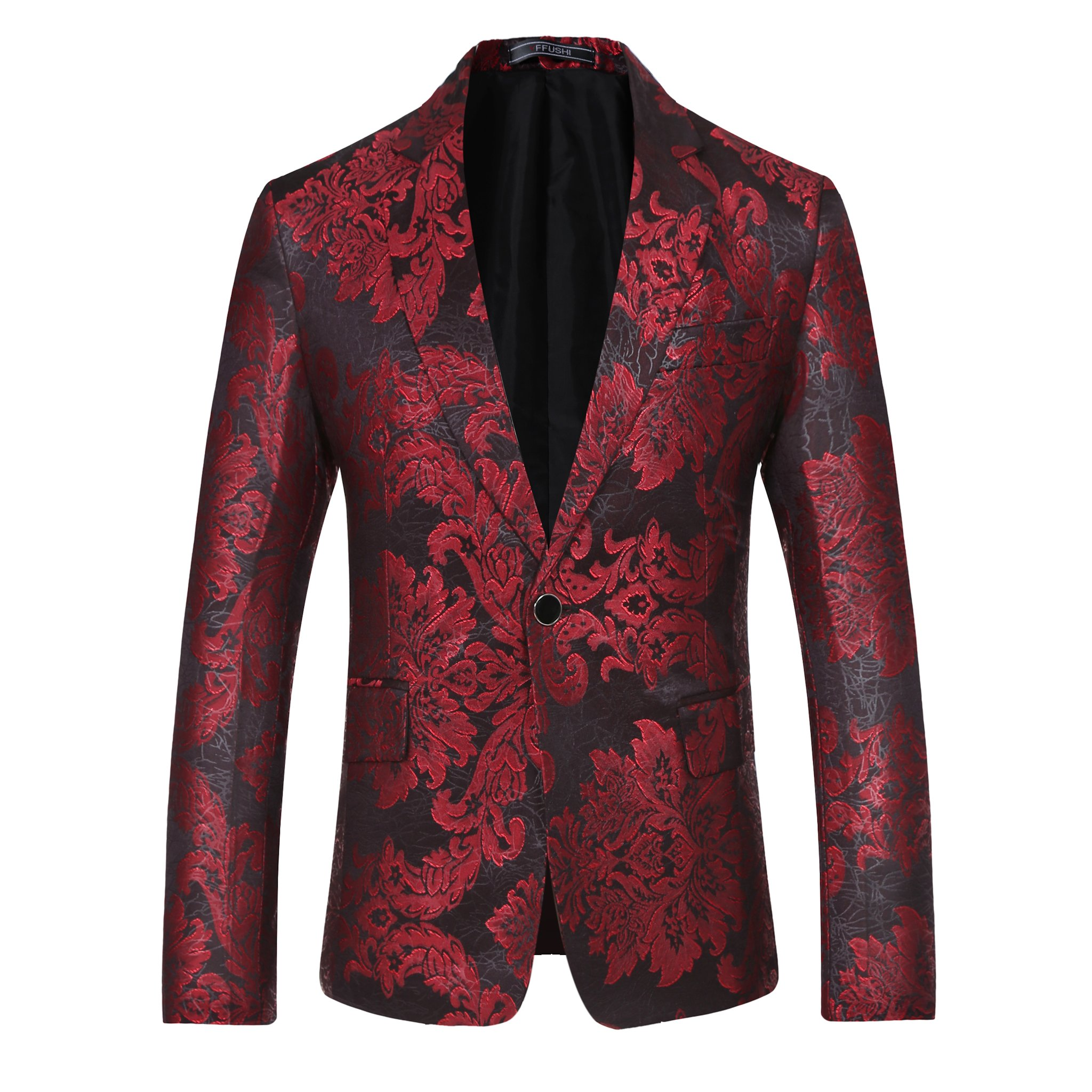 Mens Stylish One Button Red Floral Printed Jacket Slim Fit by YFFUSHI
