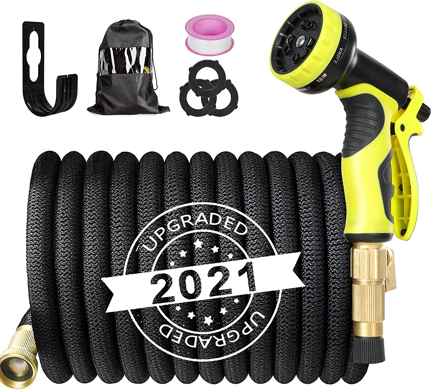 Nuaer Garden Hose, 25ft Expandable Water Hose, Flexible Water Hose With 3 Layer Latex Core 3/4