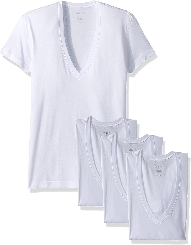 2(X)IST Men's Cotton Slim Fit Deep V Neck T-Shirt Multipack
