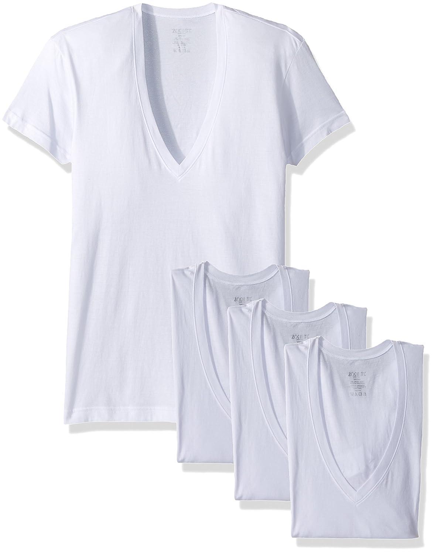 2 X IST Mens Cotton Slim Fit Deep V Neck T-Shirt Multipack 020351