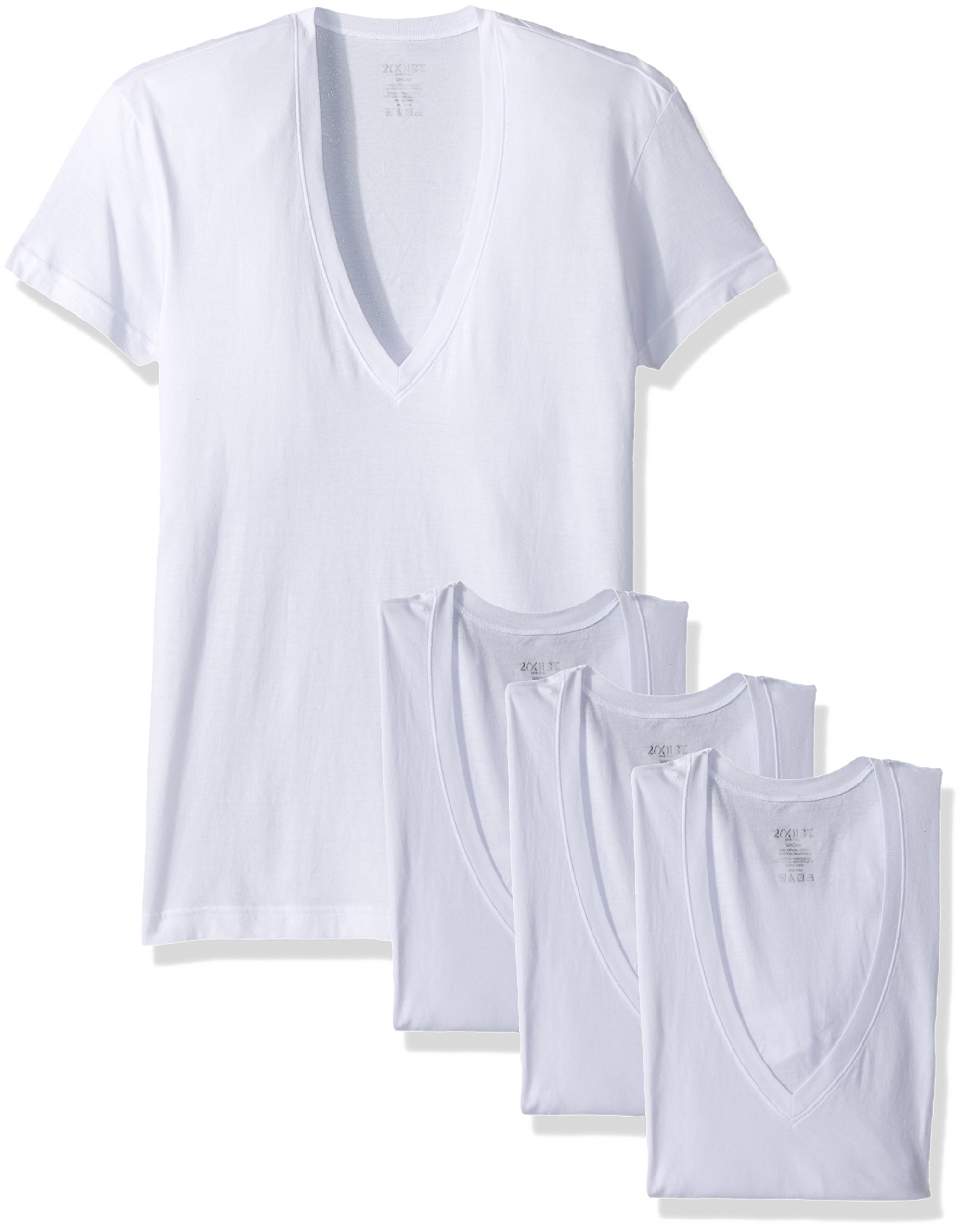 2(X)IST Men's Essential Slim Fit Deep V Neck T-Shirts-3 Pack (020351), White Natural, Large