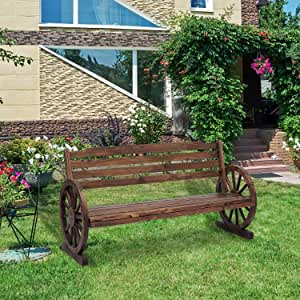 Kinbor Wooden Rustic Wagon Wheel Bench, Outdoor Bench Seat, Patio 2-Person Bench with Backrest
