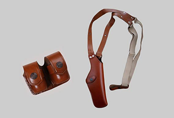 ALIS452038 Vertical Shoulder Holster with Soft Fabric Interior Lining & Double Speedloader Pouch Fits 357 Magnum 4