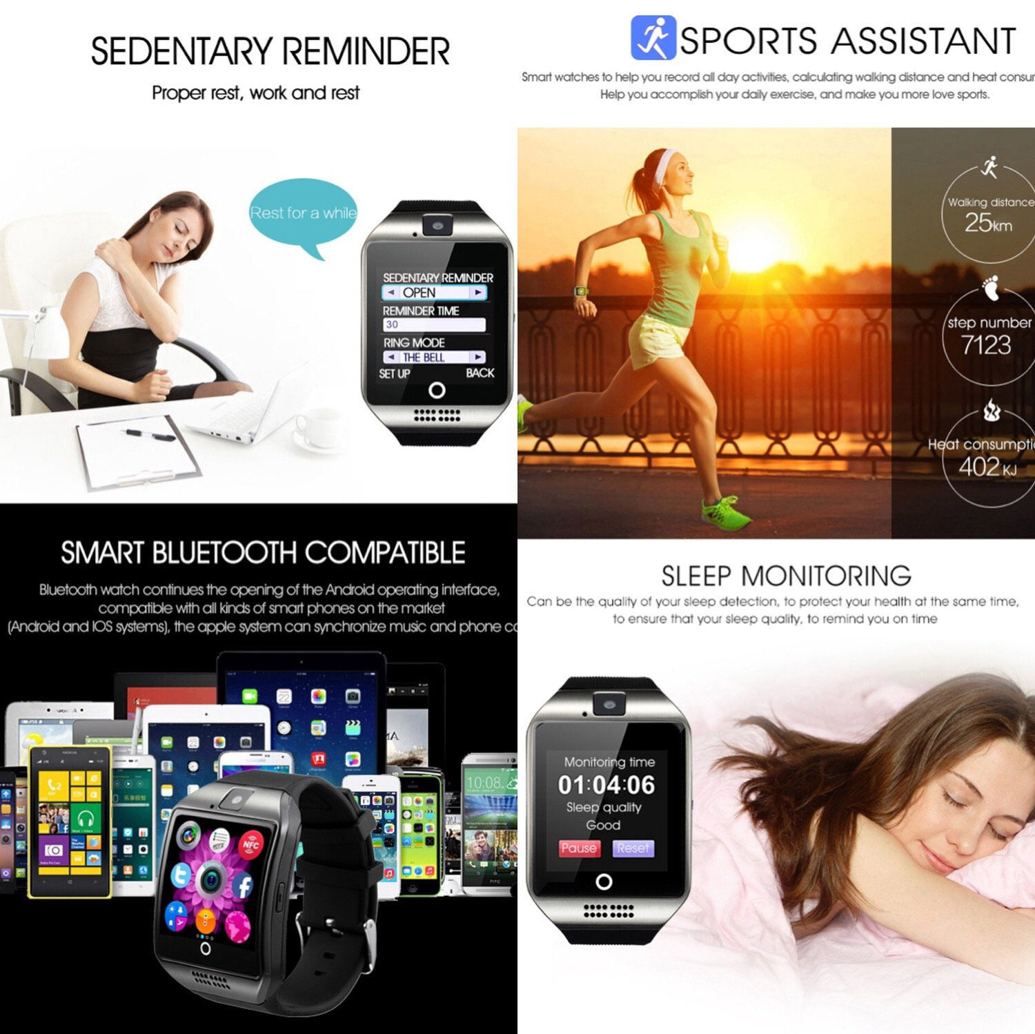 Amazon.com: ZRSJ Bluetooth Smart Watch Q18 Touch Screen with Camera SIM/TF Card Slot Watches for Android iOS Samsung Motorola Men Women Kids (Gold): Cell ...