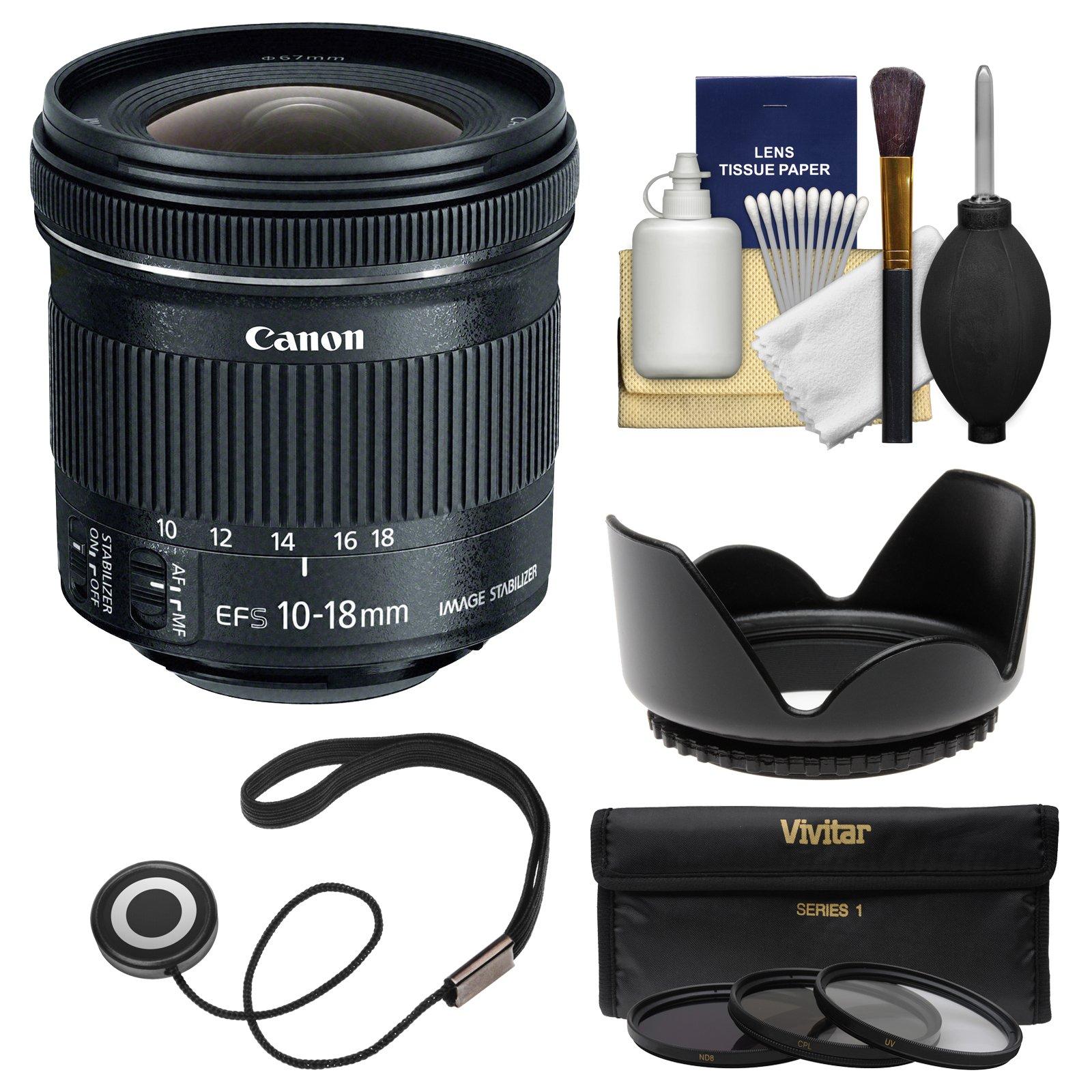 Canon EF-S 10-18mm f/4.5-5.6 is STM Zoom Lens with Hood + 3 UV/CPL/ND8 Filters + Kit for EOS 70D, 7D, Rebel T5, T5i, T6i, T6s, SL1 DSLR Camera