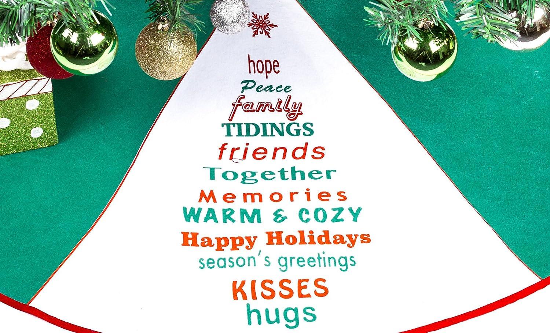 36 Christmas Tree Skirt Green /& White Tree Skirt with Greetings