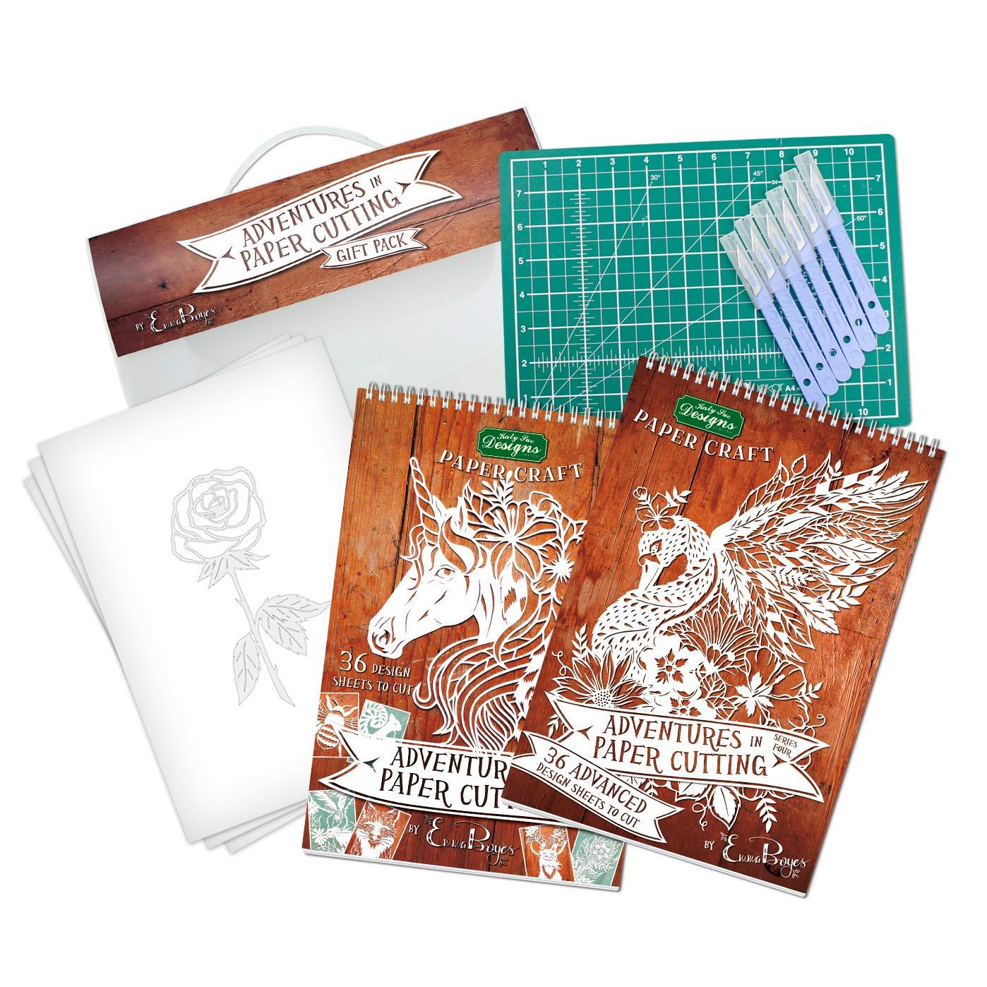Emma Boyes Adventures paquete en paquete Adventures de regalo de corte de papel (serie 2 y 4) con diseño exclusivo de plantilla de rosas, tapete de corte verde A4 y escalpelos desechables 3e18da