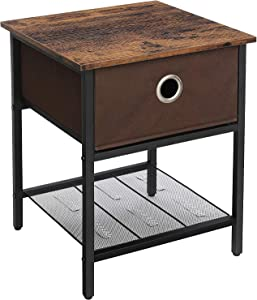 VASAGLE ULET203B01 End Tables, 1-Pack, Rustic Brown, Black