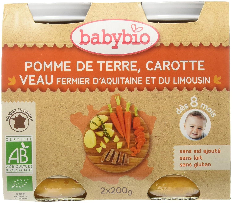 Babybio Pots Pomme de Terre Carotte/Veau d'Aquitaine/du Limousin 400 g - Lot de 6 51051 alimentation bébé diversification