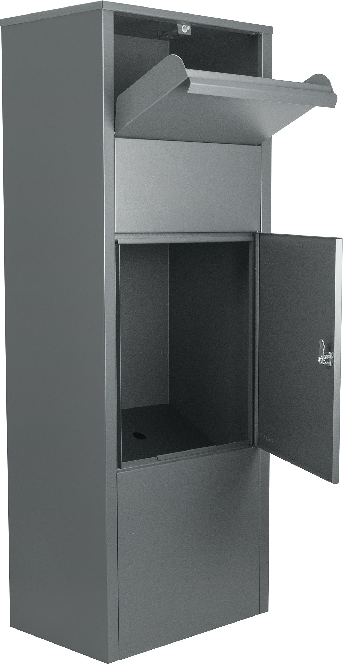 BARSKA Large Steel Freestanding Floor Parcel Lockable Drop Slot Mail Box, Grey
