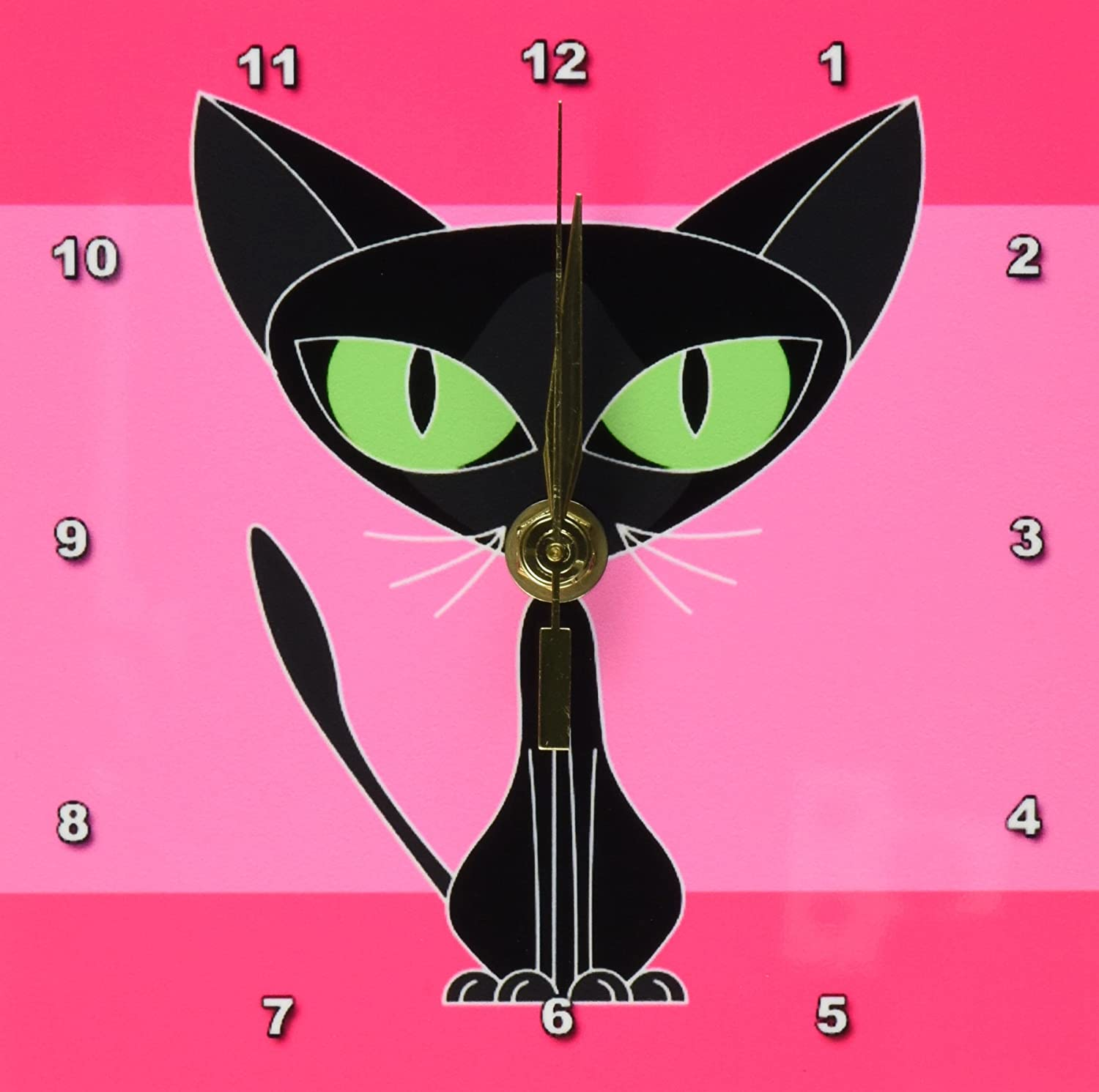 Fancy Feline Black Cat Design In Pink 6 By 6 Inch 3d Rose 3drose Dc 6169 1 Desk Clock Desk Shelf Clocks Home Kitchen