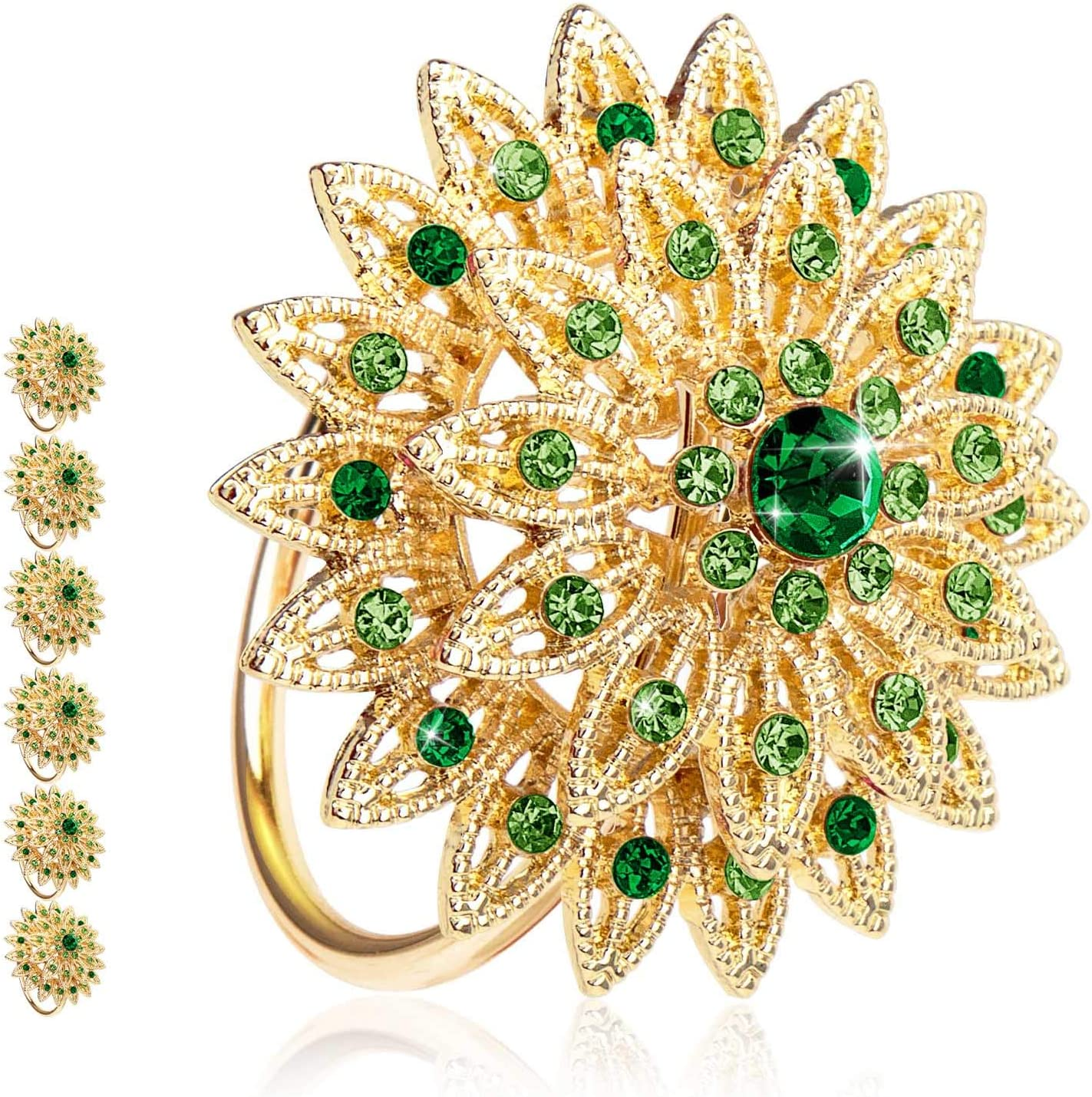 Tayis Flower Napkin Rings Set of 6, Dinner Napkin Rings for Holiday Easter Table Decor(Green)