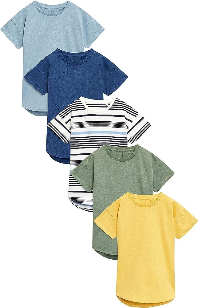 next Niños Pack De Cinco Camisetas De Manga Corta (3 Meses - 6 Años) Raya Amarillo/Verde/Azul Marino 5-6 años: Amazon.es: Ropa y accesorios
