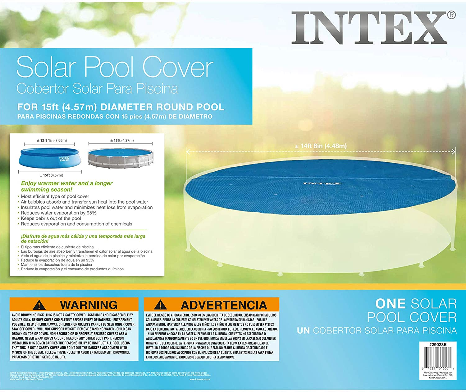 Intex 29023 - Cobertor Solar Para Piscina easy Set / Metal Frame ...