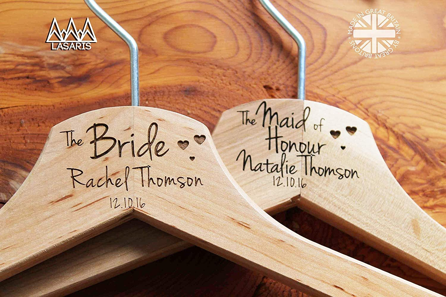 Bridesmaids and more. Hanger Engraved Wedding Gift Bride Personalised Hearts Bridal Wedding Hanger in Wood