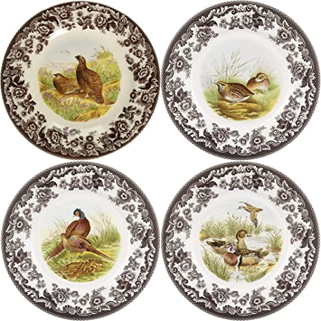 Spode Woodland Canape Plates Assorted Motifs Set Of 4 Dinner Plates Dinner Plates