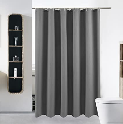 40 X 72 Grey Shower Curtain Liner Water Repellent Fabric Mildew Resistant Washable Polyester Wider Than 36 Inches Hotel Quality Eco Friendly With Heavy