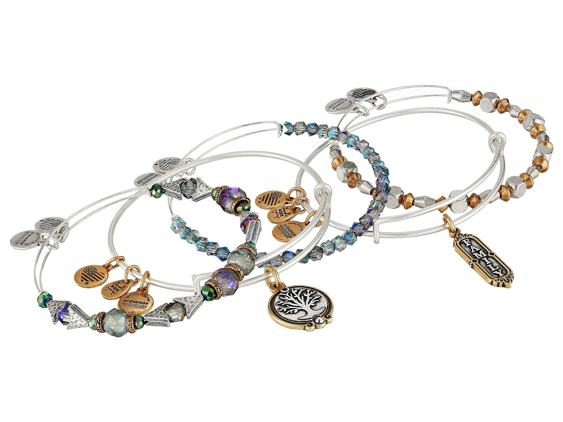 Alex and Ani Women's Family Bangles Set of 5 Two-Tone One Size