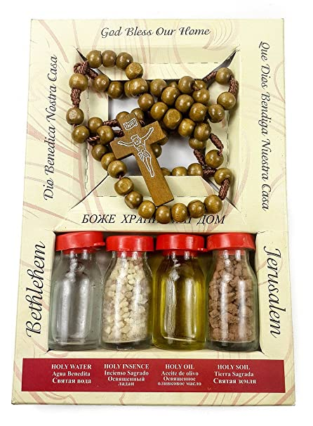 Nueva oración madera rosario Jerusalén bendito sistema agua suelo aceite incienso & oliva