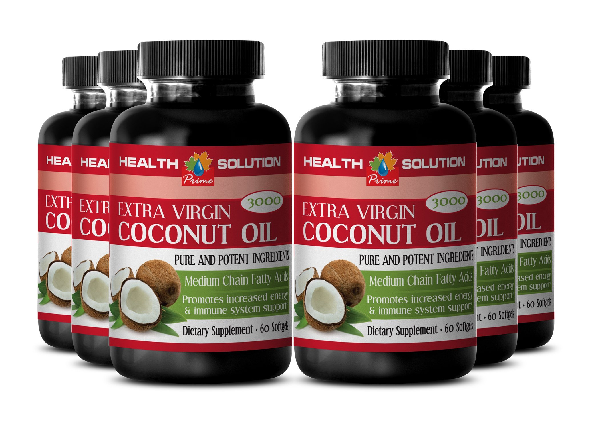 Coconut oil organic - EXTRA VIRGIN COCONUT OIL 3000 - enhance athletic performance (6 bottles)