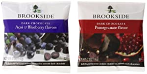 BROOKSIDE Dark Chocolate Candy Two Flavor Snack Pack, Pomegranate Flavor and Acai & Blueberry Flavors, 0.7 Ounce Package (30 Count)
