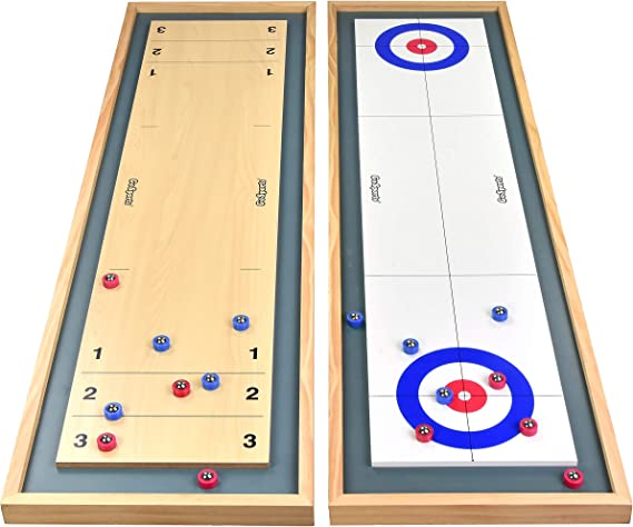 Amazon.com: GoSports Shuffleboard and Curling 2 in 1 Table Top Board Game with 8 Rollers - Great for Family Fun: Sports & Outdoors