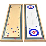 GoSports Shuffleboard and Curling 2 in 1 Board Game, and Mini Tabletop Bocce Game Set, Great for Family Fun - Choose Your Gam