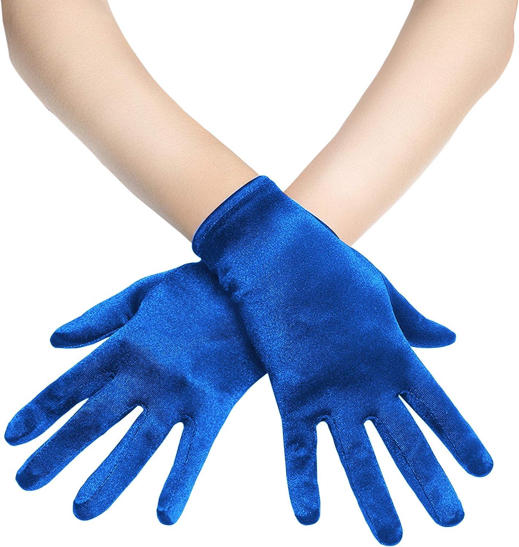 Coucoland Short Opera Gloves Satin Gloves Bridal Fancy Dress Gloves Wedding Prom Opera Gloves Wrist Length Classic Gloves