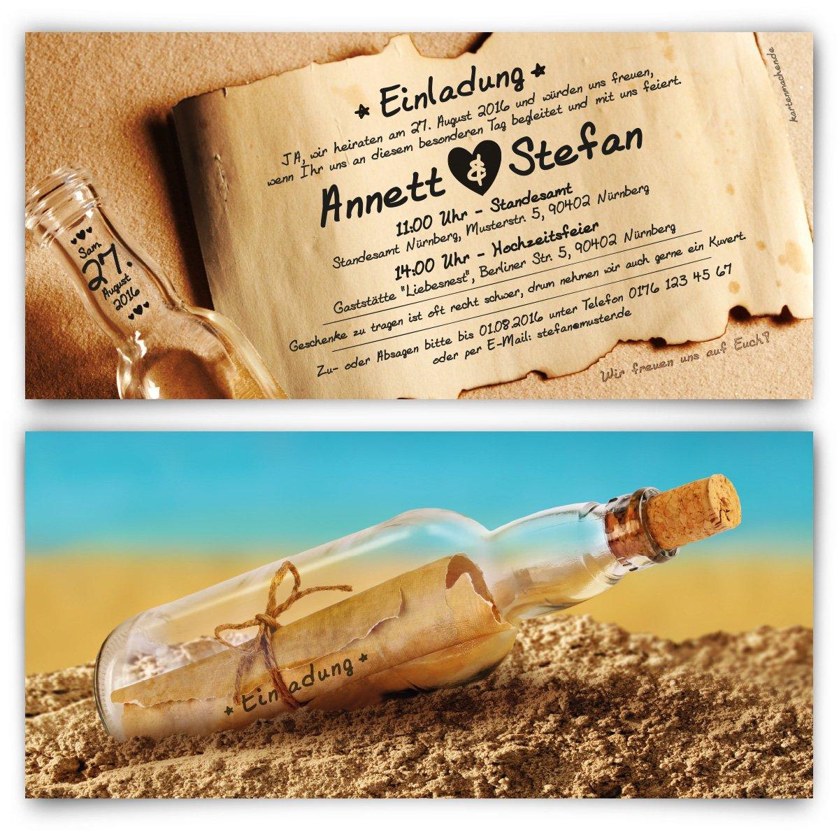 Flaschenpost Motiv Einladungskarten 30 St/ück Hochzeitseinladungen