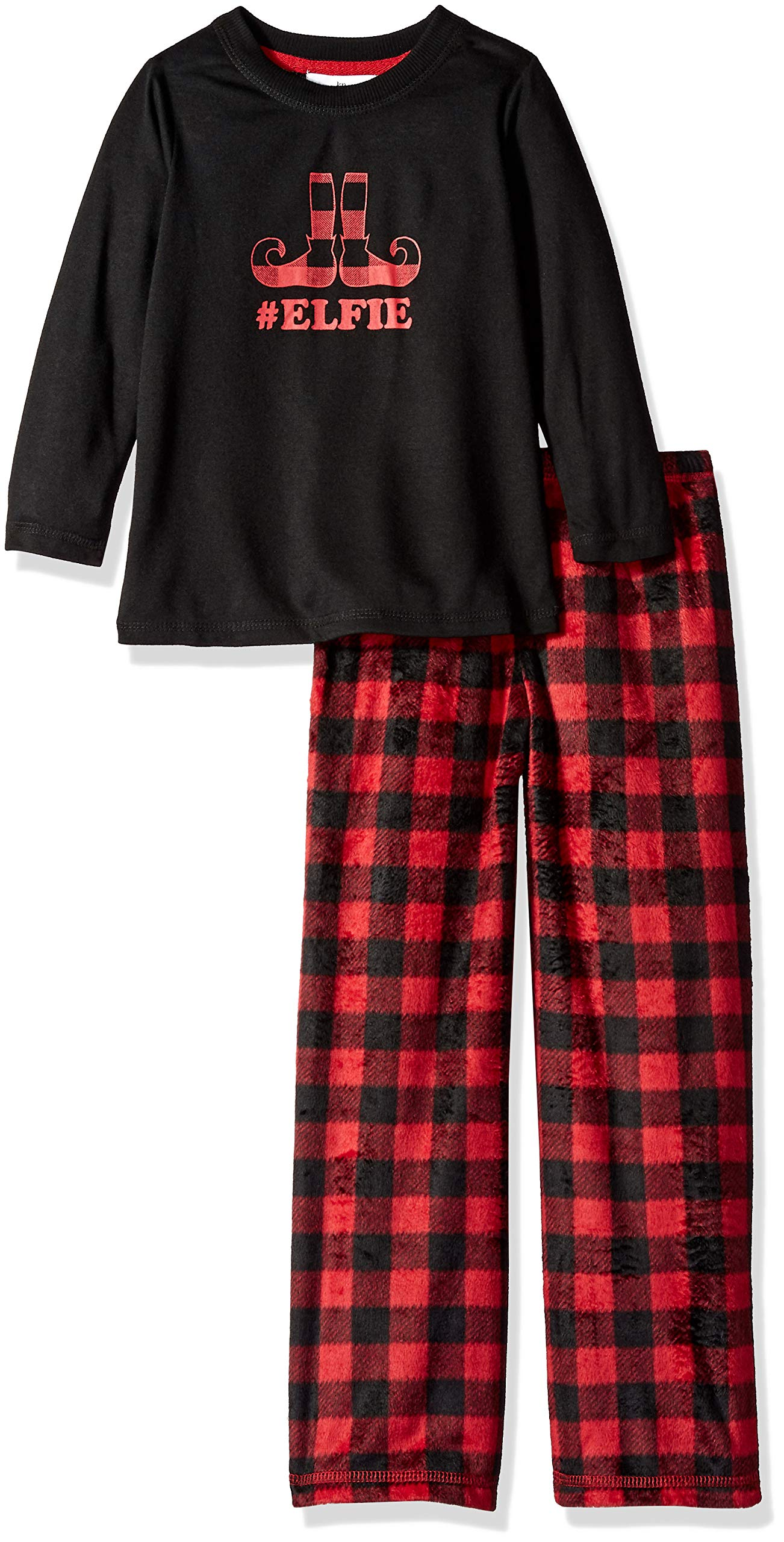 Karen Neuburger Girls' Little Family Matching Christmas Holiday Pajama Sets PJ, Buffalo Plaid red Cherry/Black Combo, Kid M by Karen Neuburger (Image #2)